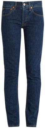 RE/DONE High Rise Straight Skinny Leg Jeans - Womens - Dark Blue
