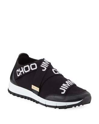 Jimmy Choo Toronto Logo Knit & Leather Sneakers