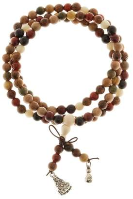 Jean Claude Multi Color Sandalwood Tibetan Buddhist Prayer Bead Multi Wrap Stretch Bracelet