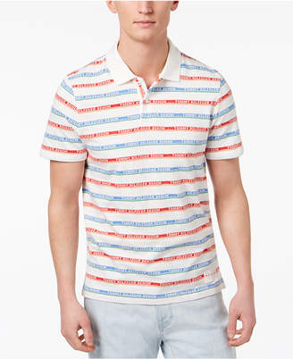 Tommy Hilfiger Men's Striped Logo Custom Fit Polo