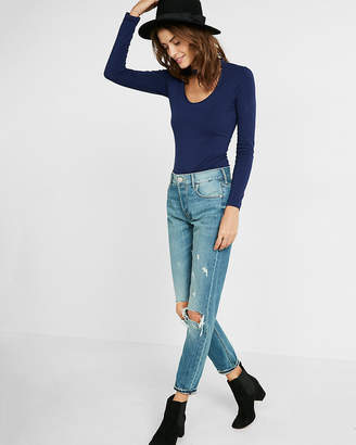 Express Plunging Mock Neck Choker Top