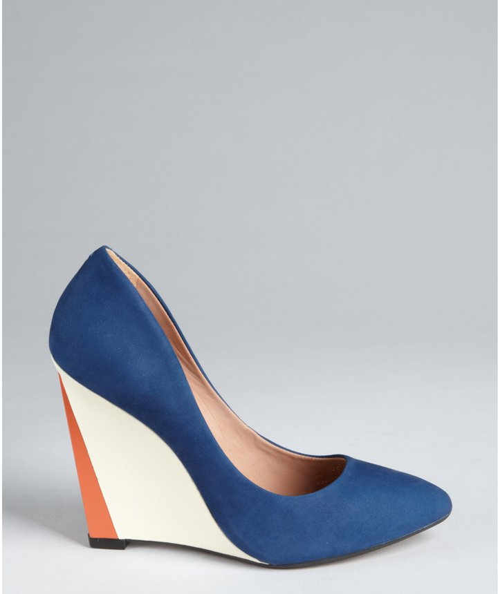Madison Harding royal blue brushed leather 'Magda' wedge pumps
