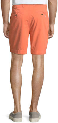 Tailorbyrd Twill Flat-Front Shorts, Tangerine