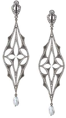 Loree Rodkin diamond drop pearl earrings