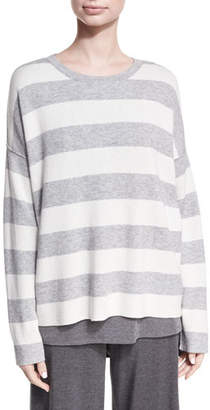 Eileen Fisher Round-Neck Long-Sleeve Striped Sweater Top, Petite