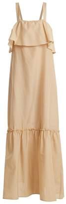Pour Les Femmes - Ruffle Panel Cotton And Silk Blend Dress - Womens - Light Brown
