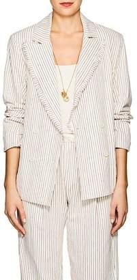 Raquel Allegra Women's Striped Cotton Double-Breasted Blazer