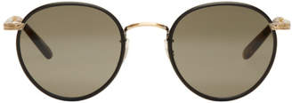 Garrett Leight Black and Gold Wilson Sunglasses