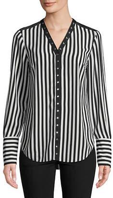 Jones New York Striped Snap Button Top