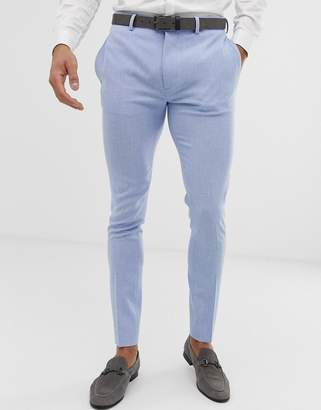 Blue Cross Asos Design ASOS DESIGN wedding super skinny suit pants in light hatch