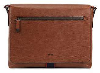 HUGO BOSS Printed Italian calf-leather messenger bag with webbing detail