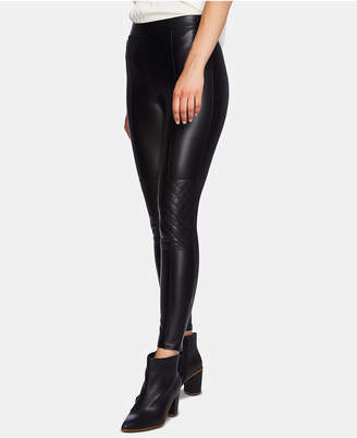 1 STATE 1.state Quilted-Knee Faux-Leather Leggings