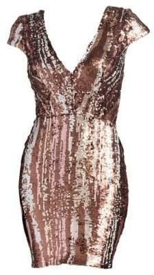 Dress the Population Zoe Cap Sleeve Sequin Mini Dress