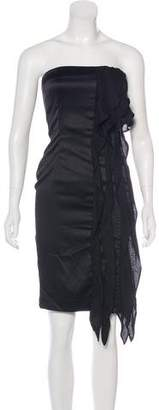 Just Cavalli Ruffle-Accented Strapless Dress