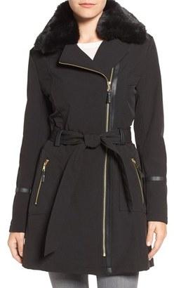 Women's Via Spiga Detachable Faux Fur Collar Belted Soft Shell Coat $210 thestylecure.com