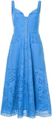 Saloni crochet embroidered midi dress