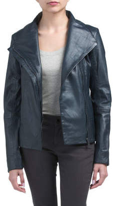Fold Collar Leather Jacket