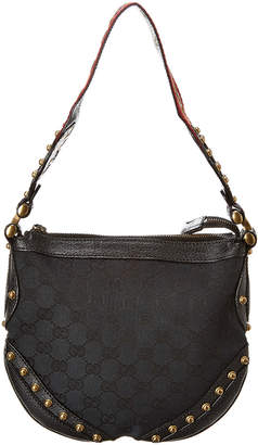 Gucci Black Gg Canvas & Leather Pelham Stud Hobo Bag