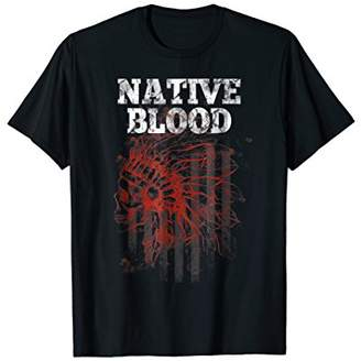 Vintage American Flag Native Blood USA Red White T-Shirt Gif