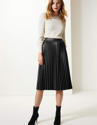 eb98771c4a1 ... Marks and Spencer Faux Leather Pleated Midi Skirt