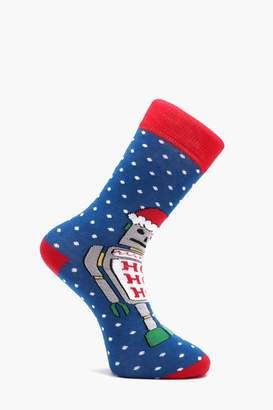 boohoo Robot Christmas Socks