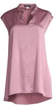 Eileen Fisher Mandarin-Collar Cap-Sleeve Top