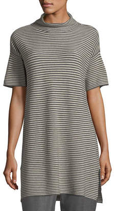 Eileen Fisher Short-Sleeve Striped Merino Tunic