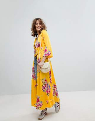 Free People Alexa Floral Duster Jacket In Maxi Length