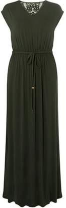Dorothy Perkins Womens Green Crochet Back Maxi Dress