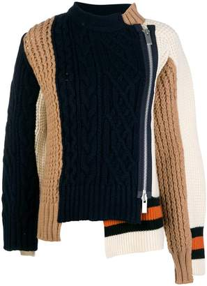 Sacai multi-panel cable-knit jumper