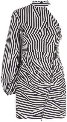 Self-Portrait Asymmetric Striped Dress