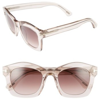 Women's Tom Ford 'Greta' 50Mm Sunglasses - Transparent Pink/ Bordeaux