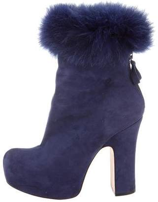 Alice + Olivia Fur-Trimmed Suede Ankle Boots