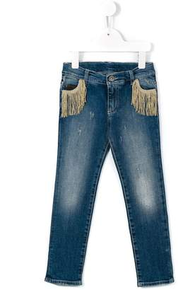 Douuod Kids fringed pocket slim jeans
