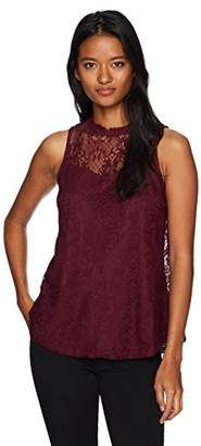 Amy Byer A. Byer Junior's Sleeveless Mock Neck Lace Top (Junior's)