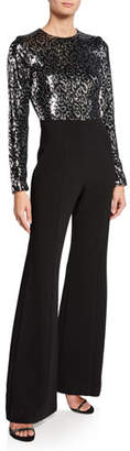 Black Halo Larzaro Zodiac Sequin Long-Sleeve High-Waist Flared-Leg Jumpsuit