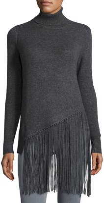 Philosophy Cashmere Turtleneck Fring-Front Sweater, Gray $225 thestylecure.com