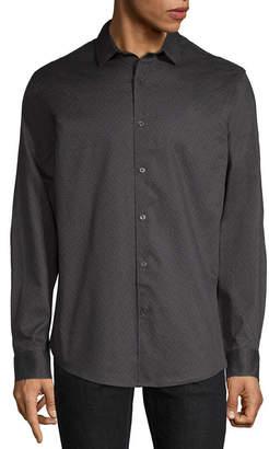 Claiborne Mens Long Sleeve Pattern Button-Front Shirt