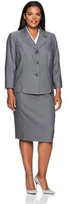 Le Suit Women's Plus Size Houndstooth 3 Button Skirt Suit
