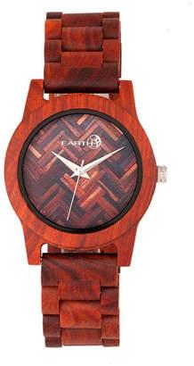 Earth Wood Crown Wood Bracelet Watch Red 41Mm
