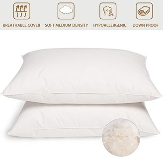 Peace Nest White Down-Proof Feather & Down Pillow, Standard Size - Set of Two
