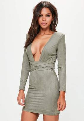 Missguided Green Faux Suede Belt Detail Bodycon Dress