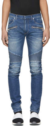 Balmain Blue 7-Pocket Washed Effect Biker Jeans