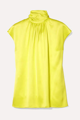 Prada Gathered Neon Silk-satin Blouse - Chartreuse