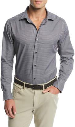 Neiman Marcus Men's Micro-Gingham Dress Shirt