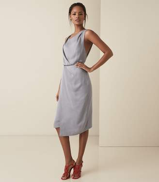 Reiss KARINA CROSS BACK COCKTAIL DRESS Steel Grey