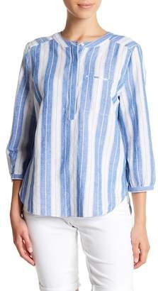 NYDJ Striped Pleat Linen Blend Blouse (Petite)