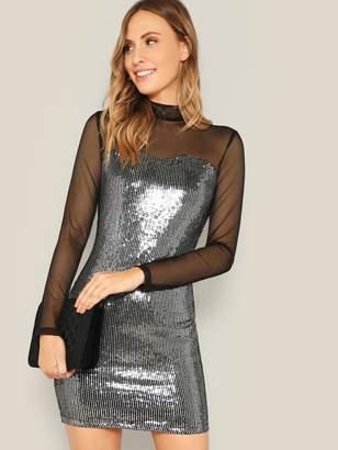 SheinShein Mesh Yoke Sweetheart Metallic Sequin Dress