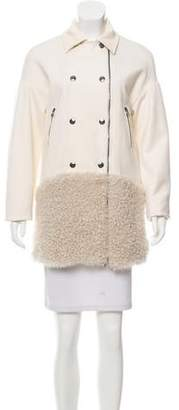 Pierre Balmain Shearling-Trimmed Wool Coat