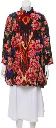 Oscar de la Renta Floral Silk & Wool-Blend Coat